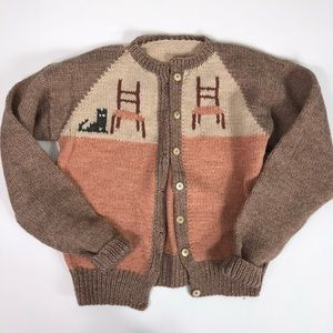 Vintage Hand Knit Wool Kitty Cat Cardigan Sweater